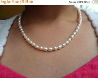 ON-SALE Wedding Pearl Necklace - Flower Girl and Junior Bridesmaid Gift - Genuine Natural White Freshwater Pearl + FREE Earrings