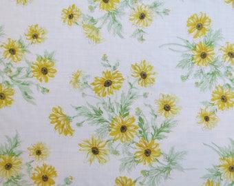Half Yard of Vintage Sheet Fabric - Yellow Sunflowers - 1/2 yd