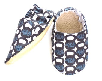 Crossfit Baby Shoes, Kettlebells , Crossfit for Baby, Baby Booties, Non Slip Soles, Soft Shoes, Slip On Baby Shoes, Available in 3 sizes