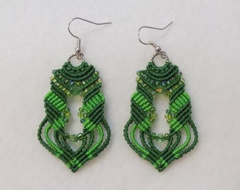 Beaded  Micro Macrame Earrings Green