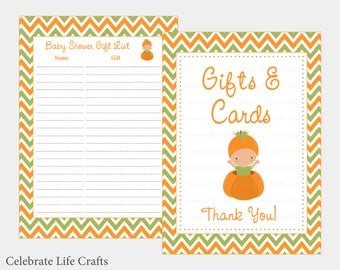 Little Pumpkin Baby Shower Gift List   Printable Baby Shower Gift Record  Sheet For Thank You