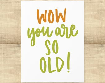 """Happy Birthday """"Wow you are SO OLD!"""" greeting card, blank inside, envelope included"""