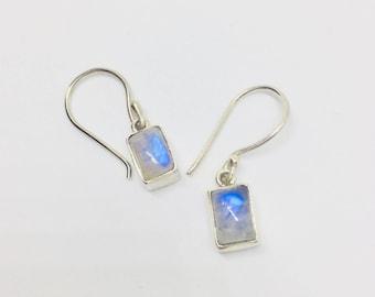 Moonstone Earrings Silver Moonstone Dangle Earrings Small Silver Moonstone Earrings