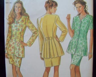 New Look Pattern 6256 Princess Seam, Back Pleat, Long Jacket and Pencil Skirt Uncut Sizes 8-18
