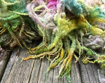Dyed Bluefaced Leicester, BFL, Wool, Lamb Fleece, 4 Ounces, Spin, Felt, Gray Gardens