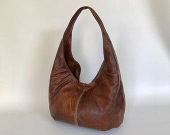 Wash Brown Leather Hobo Bag with Braided Design, Hobo Bag, Women Fashion Handbags, Trendy Handbag, Alison