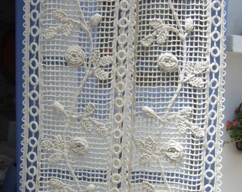 Reserved for Detlefholm until 31. 7. Antique French Crochet Panels. Handmade. Home & living. French Decor. Stunning. Matching Pair.