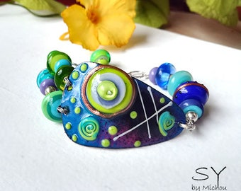 New Romance - Boho Unique Lightweight Bracelet including lampwork beads - Enameled Copper Art by Michou P. Anderson