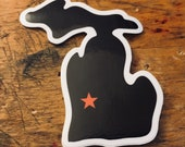Grand Rapids, Michigan Die-Cut Vinyl Sticker with Star over the city