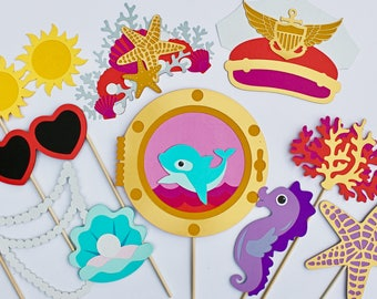 NAUTICAL PHOTOBOOTH PROPS - Happy as a Clam, Mermaid, Under The Sea