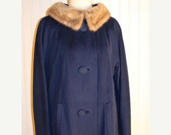 60% OFF Clearance Sale Vintage 60's Blue Wool Princess Swing Coat Fox Fur Collar Jacki O Mad Men SZ M/L