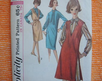 vintage 1960s Simplicity sewing pattern 5593 misses one piece dress and jumper size 16