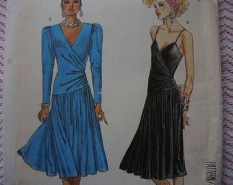 vintage 1980s McCalls sewing pattern 2593 misses dress for stretch knits only size 8 UNCUT