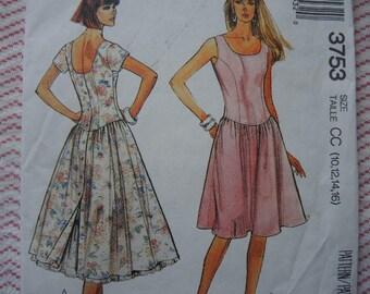 vintage 1980s McCalls sewing pattern 3753 misses dress and petticoat size 10-12-14-16 UNCUT