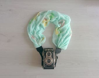 Camera strap scarf Camera strap scarf Floral camera strap Scarf camera strap DSRL camera strap Mint camera strap Camera accessories