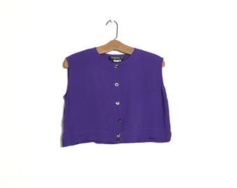 80's Cropped Top 90's Cropped Shirt Minimalist 80s Shirt Half Shirt Purple 80's shirt Clothing Rayon M