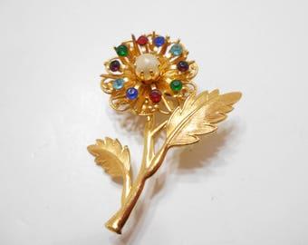 Gorgeous Vintage Multi-Colored Rhinestone Flower Brooch (2116)