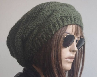 Womens Hats  green Hat Slouchy Hat Slouchy Women Hat cable   Slouch Beanie Cable Women Hat Oversized Hat Cable Hat Chunky Knit Hat