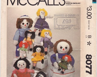 "FF McCalls 8077 623 Raggedy Ann and Andy Doll 10"" 15"" 20"" 25"" Vintage Sewing Pattern, Doll Clothes Pattern, Stuffed Doll Toy, 1980s UNCUT"