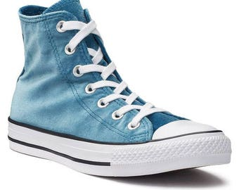 Teal Blue Converse Chuck Taylor Crush Velvet High Top w/ Custom Swarovski Crystal Jewel Bling Rhinestones Wedding All Star Sneakers Shoes