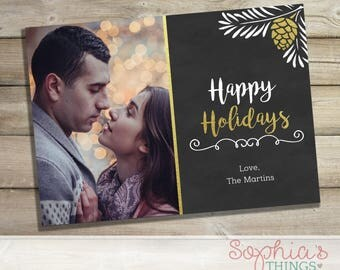 Chalkboard Holiday Photo Card, Christmas Photo Greeting Card, Printable Holiday Card, Printed Christmas Card, Gold Foil Pine Cone
