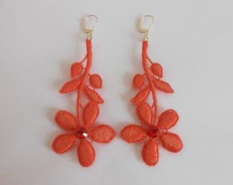 Earrings Orange lace and Swarovski Crystal