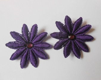 2 flowers in purple lace with Swarovski Crystal rhinestones