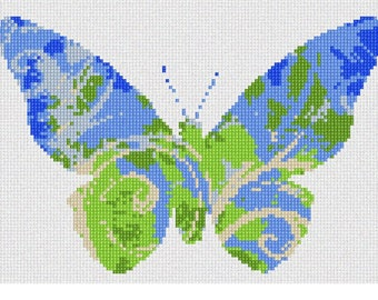 Needlepoint Kit or Canvas: Butterfly Swirls Planet Earth