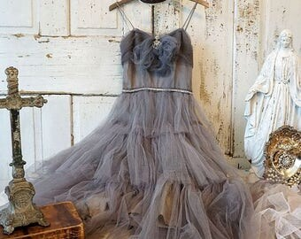 French Nordic tulle dress wall hanging art shabby cottage chic decoration one of a kind farmhouse gray home decor anita spero design