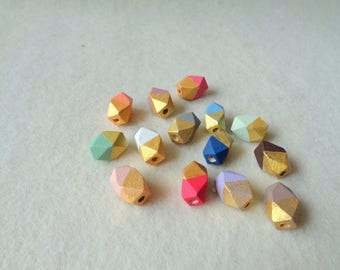Hexagon Beads, 16mm Wood Beads, Geometric Wood Beads,