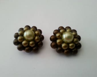 Round Earrings  Pearls Clip on Vintage Gift for her Birthday Mothers Day Wedding Summer