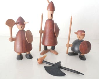 Mid-Century Jacob Jensen Teak Wood Vikings, Made in Denmark, Set of 3 with extra Arm/Weapon, Missing One Horn