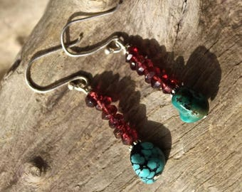 Garnet stones, turquoise and Silver earrings