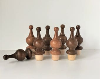 Turned Wood Finials, Vintage Furniture Finials, 8 Threaded Screw In Finials With Pole Sockets, NOS Curtain Rod Finials, Woodworking Supplies