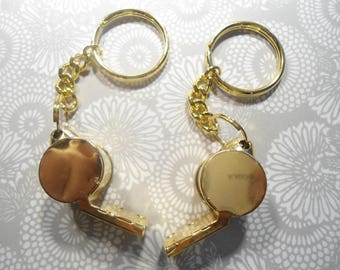 2 Goldplated Loud Whistle Key Chains
