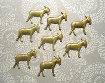 8 Vintage Brass 25mm Donkey Stampings