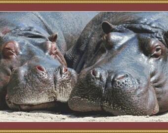 Hippos Cross Stitch