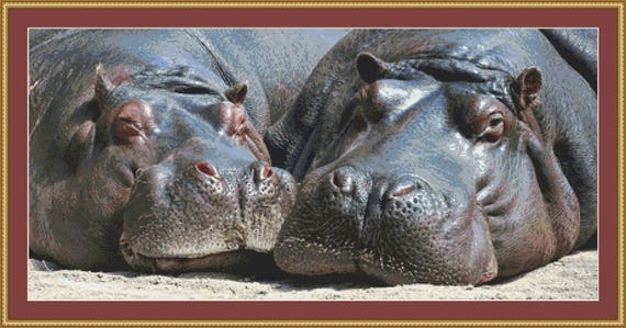 Hippos Cross Stitch /Digital PDF Files /Instant downloadable