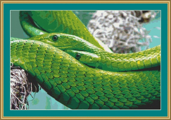 Green Mambas Cross Stitch Pattern /Digital PDF Files /Instant downloadable