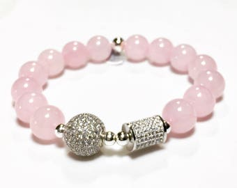 Pink jade with silver CZ