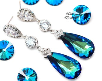 Bridal Earrings Bermuda Blue Earrings Bridesmaid Blue Earrings Teal Earrings Aqua Sea Green Peacock Swarovski Elements Cubic Zirconia BB33PC