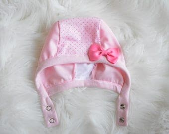 Hat with Mesh Sides,Pink Dots Baby Pilot Cap, Pilot Hat with Snaps,Baby Girl Hat with Bow,LilNells Hat for Babies with Hearing Aids,Mesh Hat