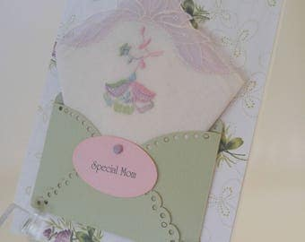 Mother Of The Bride Mom Lavender Lace Keepsake Gift Vintage Embroidered Handkerchief Happy Tears Hankie Card