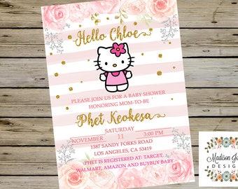 Hello kitty baby shower invitations Etsy
