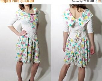 SALE 90s Dress/ Party Dress / Summer Dress / Patricia Pat Et Julie / White Floral Dress / French Dress / Vintage Dress