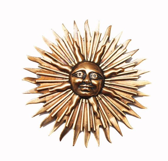 Large Brass Sun Brooch - Gold brass metal - Abstract - Sunburst - Pin