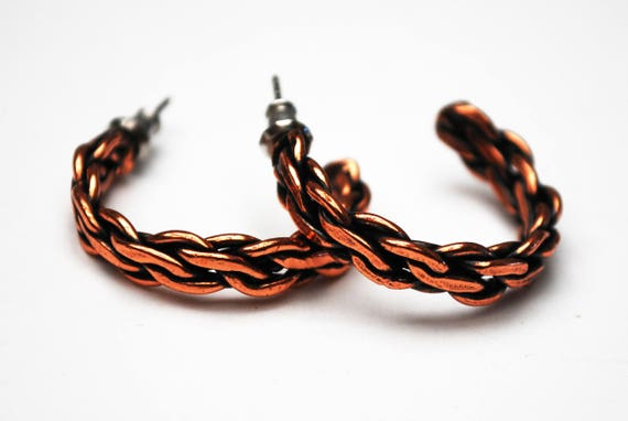 Copper Hoop Earrings - Twisted braided - Pierced - boho earrings