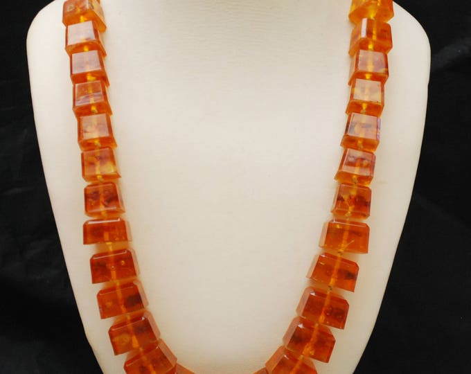 Amber Bead Statement Necklace - Graduated Chunky Cube Orange Resin Beads - hand knotted - Vintage Modernist design