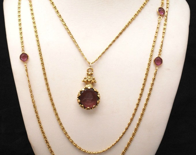 Purple Cameo Goldette necklace multi gold chain -violet carved intaglio glass - Caged crystal - Victorian Revival