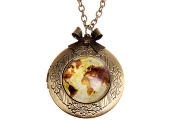 Necklace locket world's map 2020m